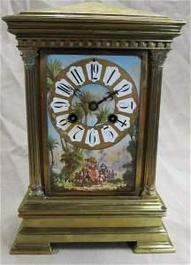 19TH CENT.  A.D MOUGIN BRASS AND PORCELAIN CLOCK