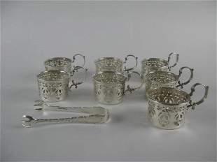7 STERLING GLASS COFFEE CUP HOLDERS + SUGAR NIPS