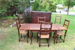 FRENCH 1850'S LOUIS XV STYLE COUNTRY DINING SUITE