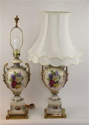 PAIR ORNATE FLORAL LAMPS WITH MICHELIN SHADES