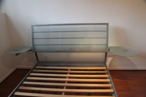 QUEEN SIZE BRUSHED METAL & FROSTED GLASS HEADBOARD - 2