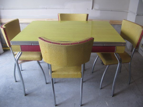 YELLOW FORMICA & CHROME TABLE + 4 CHAIRS & ROCKER
