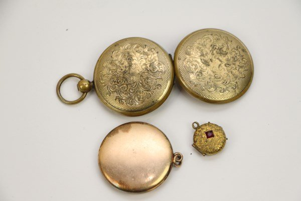 THREE VICTORIAN GOLD-PLATED LOCKETS