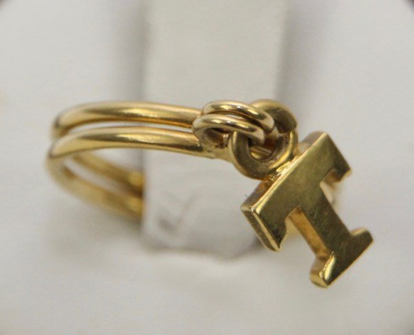"DOUBLE BAND 18K RING WITH ""T"" CHARM"