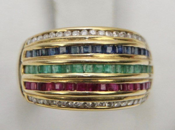 18K DIAMOND, EMERALD, RUBY AND SAPPHIRE  RING