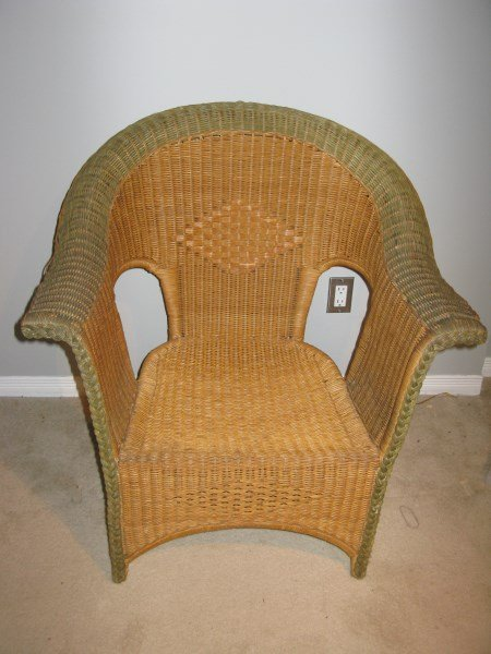 TWO TONED WEAVED WICKER CHAIR