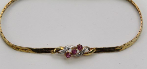 14K GOLD RUBY AND DIAMOND BRACELET