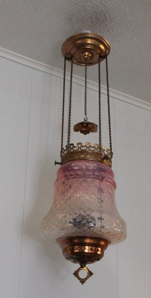 CRANBERRY TO OPALINE VICTORIAN HALL LAMP