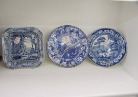 Four Pieces English Blue Transfer Ware