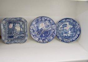 Four Pieces English Blue Transfer Ware