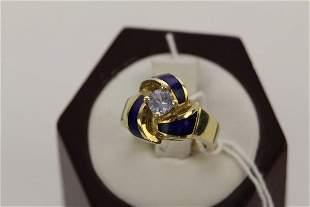 14K GOLD BLUE ENAMEL AND LIGHT BLUE GEMSTONE RING