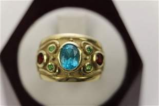14K BLUE TOPAZ, RUBY AND PERIDOT HERITAGE RING