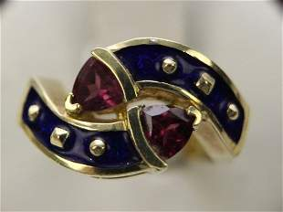 K GOLD BLUE ENAMEL AND PINK RUBY RING
