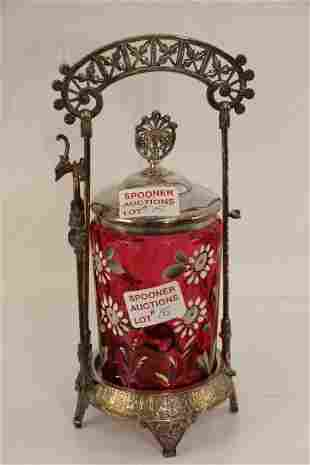 COIN DOT CRANBERRY PICKLE CRUET COMPLETE WITH FORK