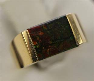 14K YELLOW GOLD AND AMMOLITE RING