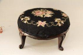 Victorian Needlepoint Mahogany Framed Footstool