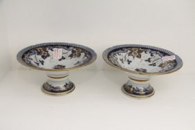 Pair Of English Blue Transfer Ware Compotes
