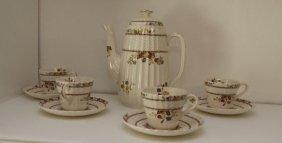 "Spode ""cowslip"" Coffee Pot + Four Demitasse Cups"