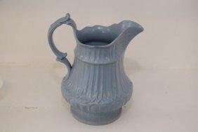 English Victorian Light Blue Soft Paste Pitcher