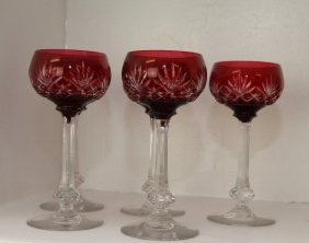 Five Cranberry Bowl Wine Glasses With Clear Stems