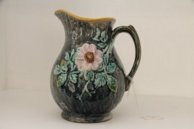 English Majolica Pitcher With Flower Decoration
