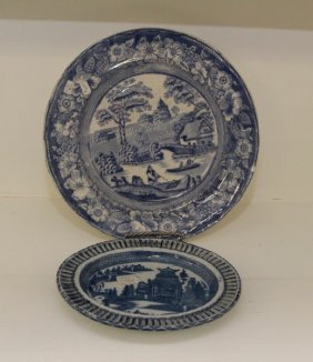 Circa 1850 Blue Transfer Ware Plates And Oval Dish