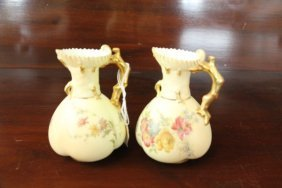 Two Royal Worcester Blush Pitchers