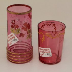 Pair Of English Victorian Cranberry Glasses