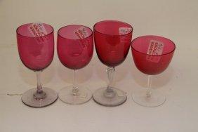 Four English Cranberry Bowl Sherry Glasses