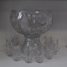English Crystal Punch Bowl Set
