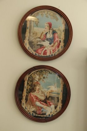 Pair Framed Victorian French Needlepoints
