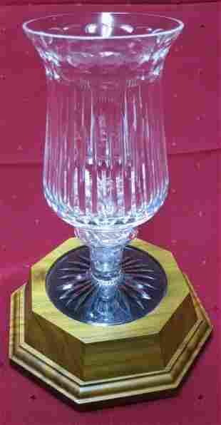 STUART SIGNED CRYSTAL HURRICANE LAMP