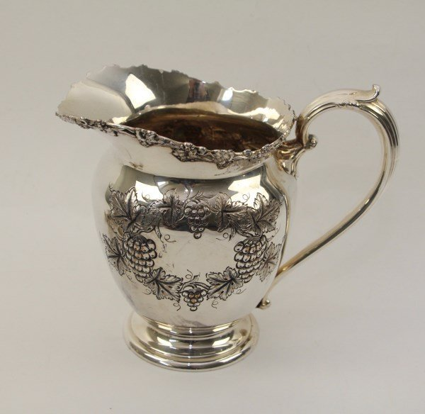 ENGLISH WATER PITCHER -GRAPE AND VINE DECORATION