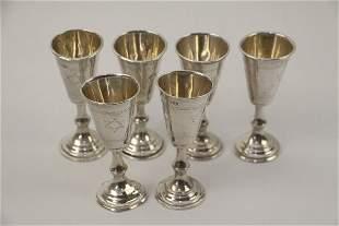 SIX JUDAICA STERLING KIDDUSH CUPS