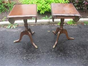 PAIR OF WALNUT OCCASIONAL DROP-SIDE TABLES
