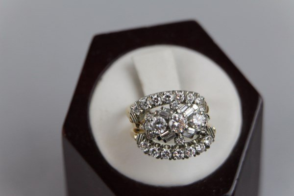 14K &18K GOLD AND DIAMOND TRIO OF FITTED RINGS