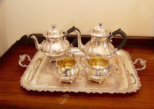 FIVE PIECE SILVER PLATED TEA SERVICE