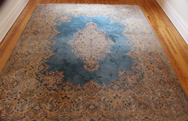 PERSIAN KERMAN WOOL CARPET WITH BLUE FIELD