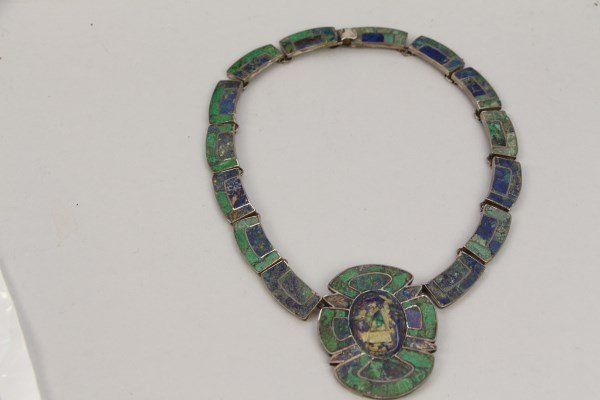STERLING SILVER NECKLACE WITH BLUE + GREEN STONES - 3