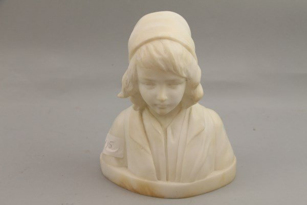 ITALIAN CARRERA MARBLE HALF-BUST OF CHILD