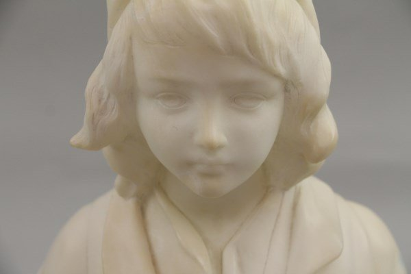 ITALIAN CARRERA MARBLE HALF-BUST OF CHILD - 2