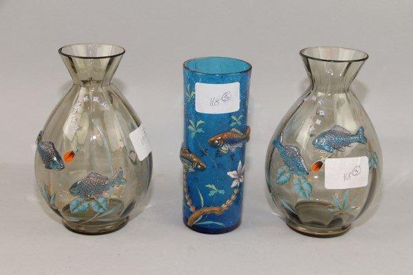 THREE MURANO GLASS VASES WITH FISH DECORATION