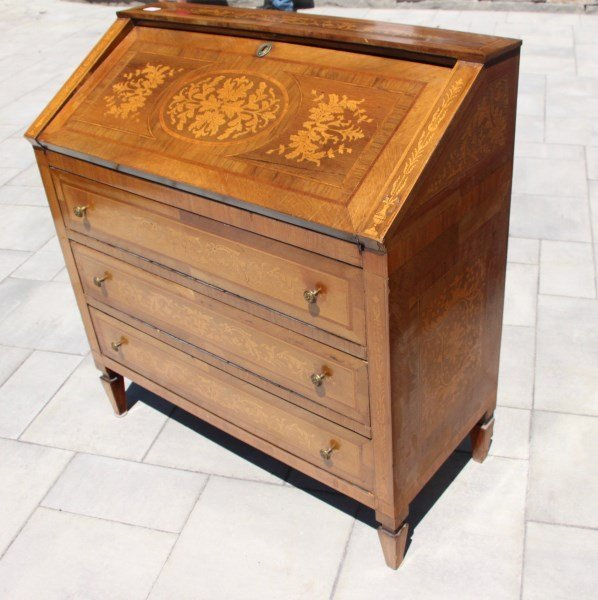 DUTCH 19TH C INLAID MAHOGANY AND SATIN WOOD BUREAU - 2