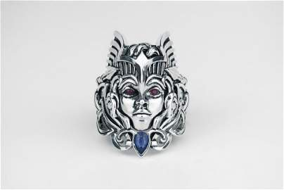 White Gold Plated 925 SterlingSilver Ruby Sapphire Ring