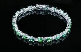 White GoldPlated 925 SterlingSilver Emerald CZ Bracelet
