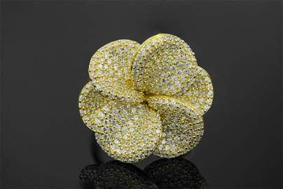 Yellow Gold Plated 925 Sterling Silver CZ Ring