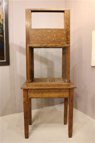19th Century Walnut Guillotine Display Cabinet