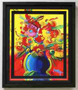Peter Max, German/American C.2009  Vase Of Flowers