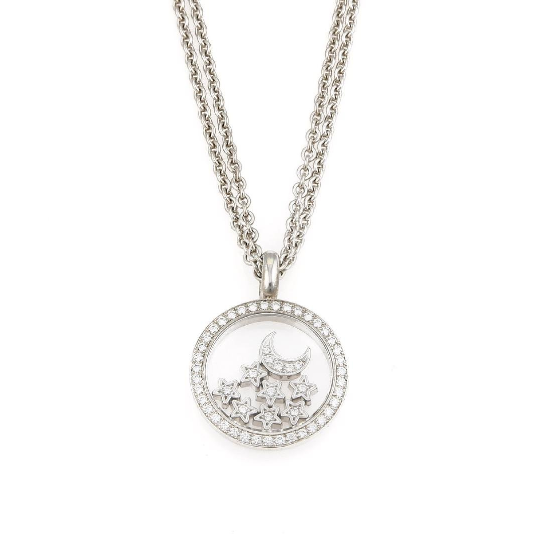 18K Chopard Happy Diamonds Moon & Stars Necklace
