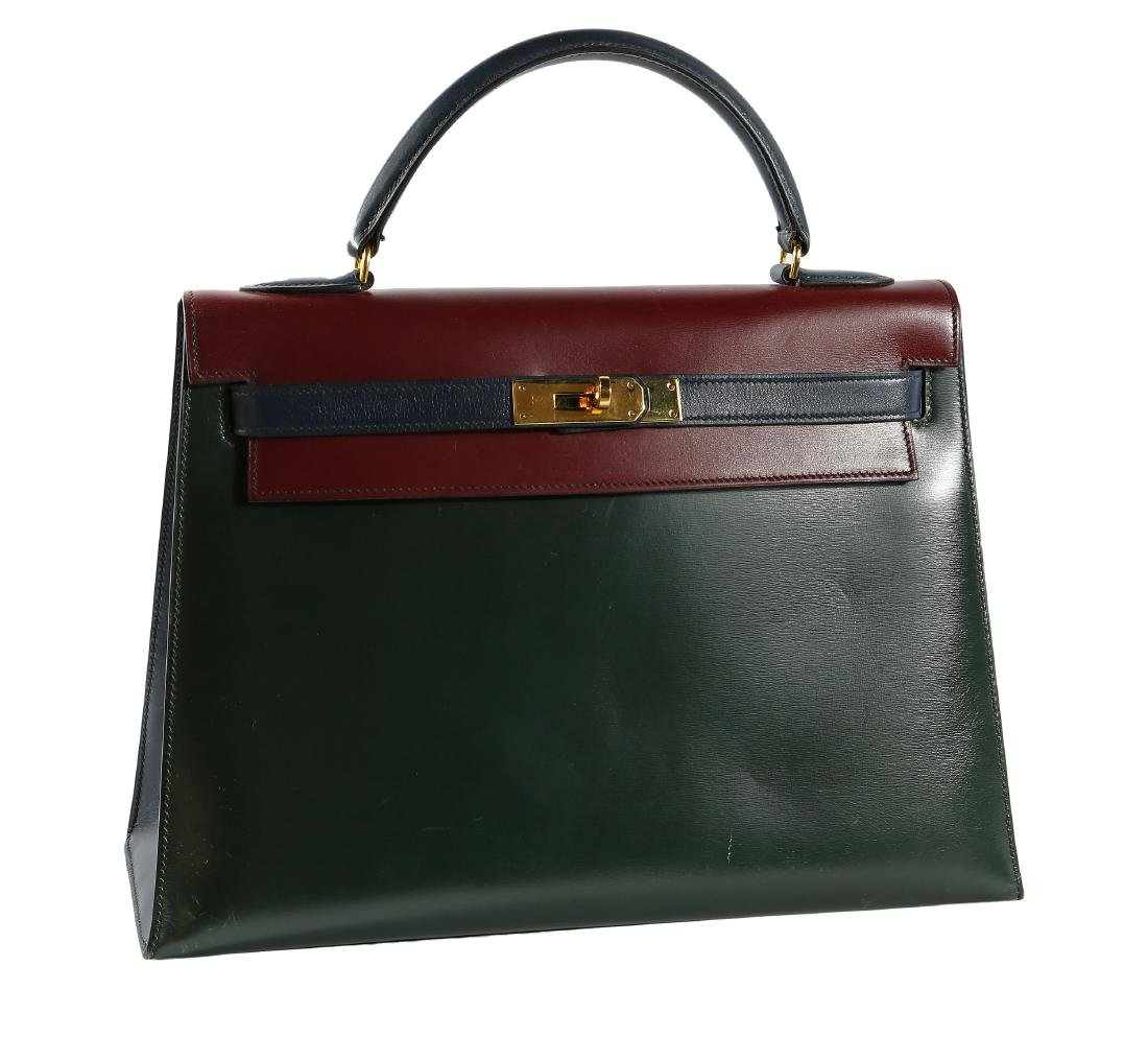 Hermes Tri Color Leather Kelly Bag with Dust Cover